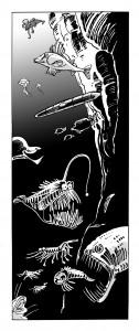 Jules Verne illustration til Carlsens moderne klassikere, En Verdensomsejling Under Havet, tegnet af Sussi Bech.