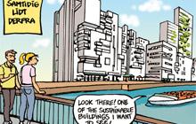 tegneserie om byggeprojekt svanen i århus