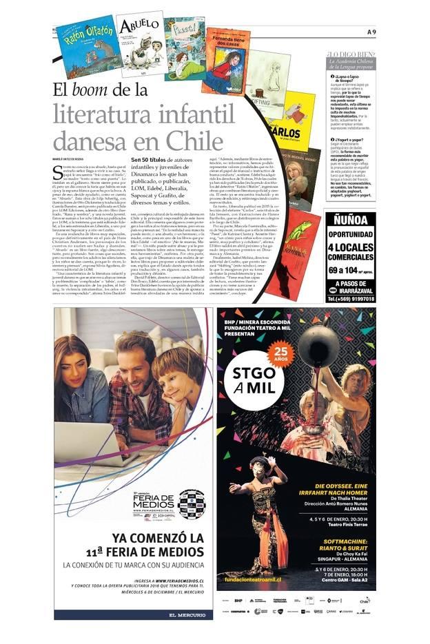 """Dagbladet """"El Mercurio"""" skriver om Snus Mus på kultursiderne."""