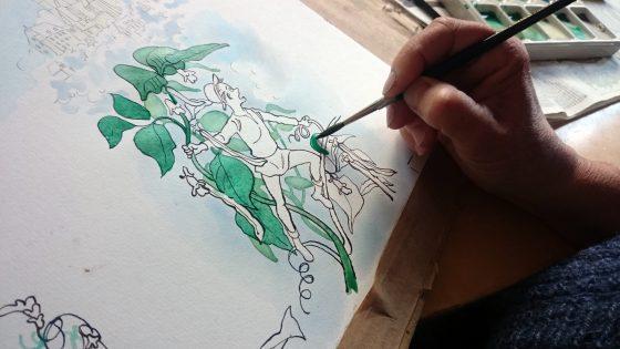 Sussi maler akvarel til bogen 5 minutters eventyr fra forlaget Alvilda