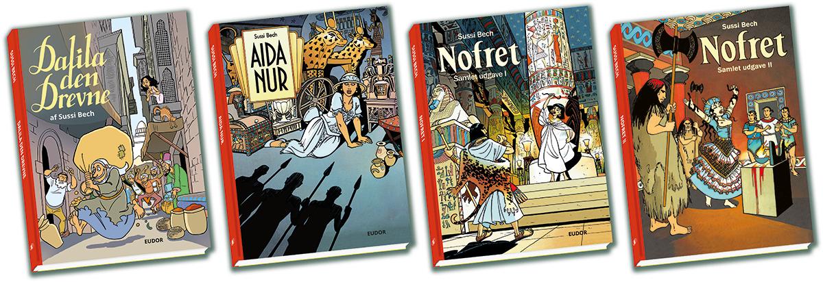 Sussi Bechs Samlede Værker bind 1-4 kan købes på Copenhagen Comics